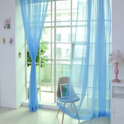 1 PC Curtain Tulle Pure Colour Door Window Curtain Drape Panel Sheer Scarf Valances