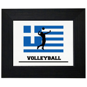 Greece Olympic - Volleyball - Flag - Silhouette Framed Print Poster Wall or Desk Mount Options