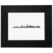 Miami Skyline Distressed Graphic Framed Print Poster Wall or Desk Mount Options