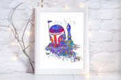 boba fett star wars gift a4 glossy print poster UNFRAMED picture nursery gift watercolour paint splatter