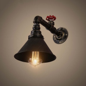 High quality-- American Village Retro Industrial Individuality Creative Water Pipe Ironwork Wall Lamp Restaurant Coffee Bar Wall Lamp --Efficiency:A+++