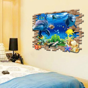 PeiTrade Creative Personality Room 3d Removable Shark Underwater World Children's Room Wall Wall Sticker Art Decal Home Room Decor Office Wall Mural Wallpaper Art Sticker Decal Paper Mural for Home Bedroom