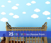 Pack of 16 MIXED size CLOUDS, 4, 5.5, 7 and 22cm wide cloud shapes wall art sticker decals, for baby boys, girls nursery, bedroom wall, WHITE