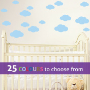 Pack of 16 MIXED size CLOUDS, 4, 5.5, 7 and 22cm wide cloud shapes wall art sticker decals, for baby boys, girls nursery, bedroom wall, PASTEL BLUE