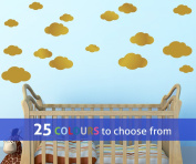 Pack of 16 MIXED size CLOUDS, 4, 5.5, 7 and 22cm wide cloud shapes wall art sticker decals, for baby boys, girls nursery, bedroom wall, GOLD