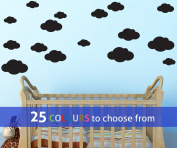 Pack of 16 MIXED size CLOUDS, 4, 5.5, 7 and 22cm wide cloud shapes wall art sticker decals, for baby boys, girls nursery, bedroom wall, BLACK
