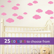 Pack of 16 MIXED size CLOUDS, 4, 5.5, 7 and 22cm wide cloud shapes wall art sticker decals, for baby boys, girls nursery, bedroom wall, BUBBLEGUM PINK
