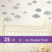 Pack of 16 MIXED size CLOUDS, 4, 5.5, 7 and 22cm wide cloud shapes wall art sticker decals, for baby boys, girls nursery, bedroom wall, SILVER
