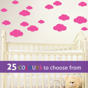 Pack of 16 MIXED size CLOUDS, 4, 5.5, 7 and 22cm wide cloud shapes wall art sticker decals, for baby boys, girls nursery, bedroom wall, PINK