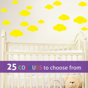 Pack of 16 MIXED size CLOUDS, 4, 5.5, 7 and 22cm wide cloud shapes wall art sticker decals, for baby boys, girls nursery, bedroom wall, YELLOW