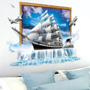 3D Stereo Wall Sticker Dormitory Wall Decorative Painting Room Bedroom TV Sofa Background Wall Sticker Sailing