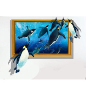3D simulation three-dimensional wall stickers wall living room decoration sofa background wall personality creative ocean penguin stickers