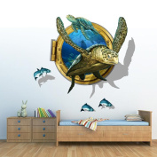 3D simulation three-dimensional wall stickers bedroom living room TV background wall stickers can remove creative decorative wall stickers turtles group