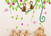 PeiTrade Size Of The Large Trees And Trees And Flowers And Children's Nursery Wall Sticker Art Decal Home Room Decor Office Wall Mural Wallpaper Art Sticker Decal Paper Mural for Home Bedroom