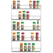 Kabalo Stainless Steel 5 Tier Spice Herb Jar Rack Organiser Stand Cooking For Kitchen Cupboard Door Wall Mount Storage Unit