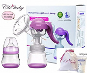 Clo Baby Manual Breast Pump for Breastfeeding - with Lid, Pump Storage Bag, and 25 Breastmilk Storage Bags