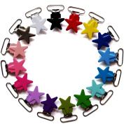 16pcs/pack 25mm 1 Inch Star Metal Baby Pacifier Clip Suspender Clips Pica Holders Dummy Bib Toy Soother Clip