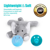 Elephant Pacifier Animal Baby Pacifier with Detachable Silicone Soft Plush Toy with Detachable Silicone Baby Dummy Teether Holder. Safe & Soothing Baby Shower Gift for Boys & Girls