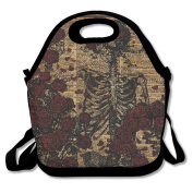 Skeleton Art Skeleton With Roses Book Unisex Large Insulated Lunch Bag 28cm X 18cm x 15cm