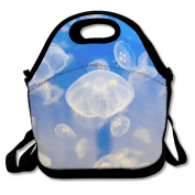 Ryskeco Jellyfish Pattern Portable Reusable Lunch Tote Bags For Women, Teens, Girls, Kids, Baby, Adults,Work, Office, School Or Gym