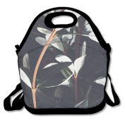 Ryskeco Leaves Printed Portable Reusable Lunch Tote Bags For Women, Teens, Girls, Kids, Baby, Adults,Work, Office, School Or Gym