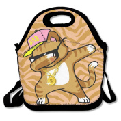 Dabbing Cat Funny Cool Hip Hop Dabbing Kitten Waterproof Lunch Tote Bag Insulated Reusable Picnic Lunch Boxes For Men Women Kids