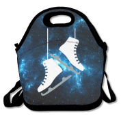 Cartoon Ice Skating Skates Large & Thick Insulated Tote LunchToteBag Black Lunch Bag For Men Women Kids Enjoy You Lunch
