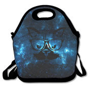 Cheque Meowt Cat With Glasses Large & Thick Insulated Tote Lunch Bags With Containers Lunch Bag For Men Women Kids Enjoy You Lunch