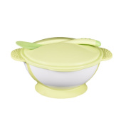 Per Suction Bowl With Lid & Spoon Set Temperature Sensing Snap-In Spoon Two Handles Anti-slip Seal Baby Feeding Training