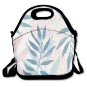 QIFAN Pastel Leaves Customised Bag Lunch Bags Bags Travelling Bag Picnic Bag Storage Bag Backpack For Children Diagonal Bag Handbag
