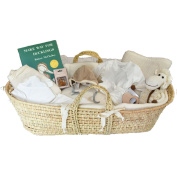 Organic Moses Baby Gift Basket with Baby Layette - Group Gift Idea for Baby Shower