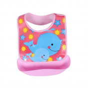 Waterproof Silicone Bib Easily Wipes Clean!Modern-twist Baby Silicone Bucket Bib,Feeding Bib with Food Catcher Pocket ,Cute Washable Infant Feeding Baby