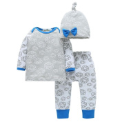 6 - 24 Months Odeer 3pcs Casual Toddler Infant Baby Boy Girl O-Collar Long Sleeve Clothes Floral Tops+Pants Cap Outfits Set Cotton