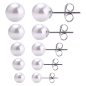 CrazyPiercing 5 Pairs White Colour Assorted Sizes Wholesale Lot Shiny Imitation Pearl Round Ball Stud Earrings,Stainless Steel Earrings Pin, Hypoallergenic