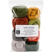 Wool Roving 30cm .740ml 8/Pkg-Pumpkin Patch