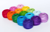 Soft 1500Y 15 Pearl Cotton Balls, 8# Rainbow Colours for Crochet, Hardanger, Cross Stitch, Needlepoint Hand Embroidery. All Different Colours