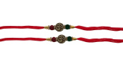 Set of Two, Om - Swastik Design, Rakhi thread, Raksha bandhan Gift for your Brother, Red Colour
