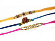 Set of Three Rakhi, Om Design Rakhi thread, Raksha bandhan Gift for your brother,Colour Vary and Multi Design