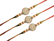 Rakhi for Bhaiya, Beautifull Rakhee, Set of Three Rakhi, Om Design Rakhi, with 4 stone ring, Red-Yellow colour thread, Rakhi for Brother, Raksha Bandha Gift for your brother Colour Vary and Multi Design