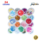 Magicdo 24 Colourful DIY craft décor, Art craft supply Kit, 3D Manicure Nail Decorations, Leaves & Snowflake Glitter Paillette, Iridescent Confetti, Sparkle Sequins for DIY Nails, Craft, Arts & Makeup