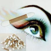 Eyeshadow Sponge Brushes, Hometom 50pcs Golden Disposable Double Ended Sponge Brush Eye Shadow Applicator Tools