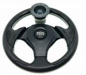 Club Car DS Steering Wheel with Hub Adapter - Black on Black 1992 - current