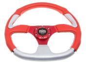 Golf Cart Steering Wheel 6 Hole Pattern - Red & Grey