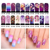 MZP 20pcs Hot Nail Art Water Transfer Stickers Decals Full Cover DIY Nail Designs Manicure Tools