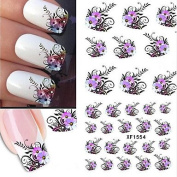 MZP 10pcs/set . Sweet Style Beautiful Flower Design Nail Art Water Transfer Decals Nail Beauty Sticker DIY Beauty Decals XF1554
