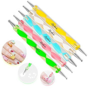 5 pc 2 Way Dotting Pen Tool Nail Art Tip Dot Paint Manicure kit by viptao