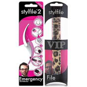 Stylfile® 2 Tom Pellereau Emergency Nail File 4-in-1 Cuticle Neatner Under-Nail Skimmer Pedicure Manicure Tool Cuticle Pusher Travel Nail Filer Portable Nail Care File with Stylfile® VIP Nail File Gift Pack Leopard Curved Make Filing Quick and Easy