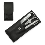 Hans Kniebes Luxury 3-Piece Manicure Set with crystal nail file, in Nappa Leather Case | made in Germany