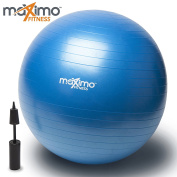 Exercise Ball with Hand Pump by Maximo Fitness | Superior Quality | Perfect for Stability Training, Core Workout, Body Balance, Pilates, CrossFit | Anti-Burst | Non Slip PVC Material | 55cm.