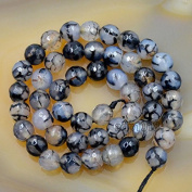 """AD Beads Faceted Fire Agate Gemstone Round Loose Beads 15.5"""" Strand"""